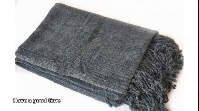 Charming Chenille Blanket Throw In Solid Grey For Blanket Ideas