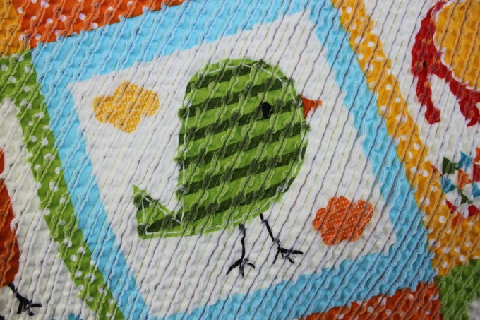 Charming Chenille Blanket With Bird Motif For Kids Blanket Ideas