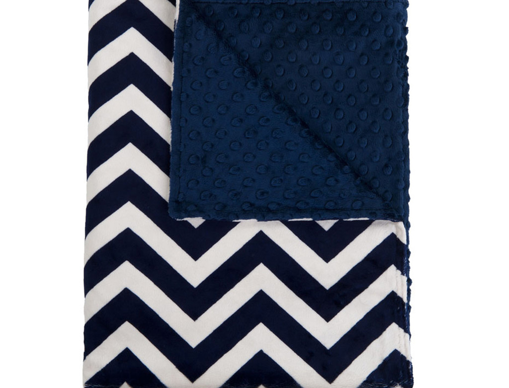 charming Chenille Blanket with solid navy and chevron motif for blanket ideas