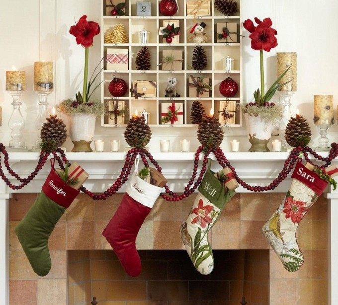 Charming Christmas Stocking Hanger For Fireplace With Compact Design For Christmas Decoration Ideas