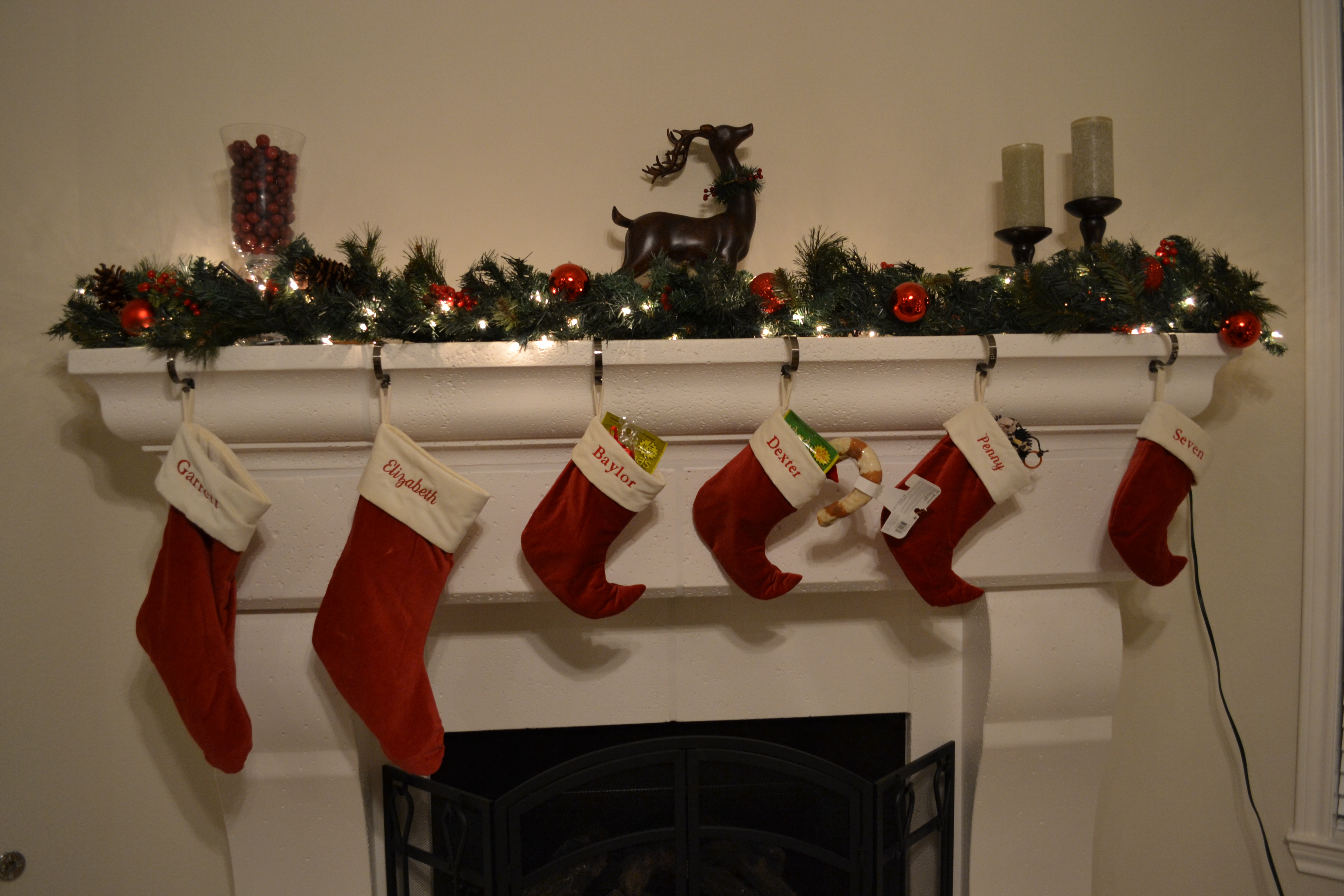 charming christmas stocking hanger for fireplace with deer ornament for christmas decoration ideas