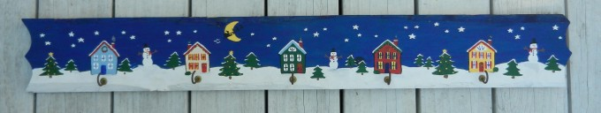 Charming Christmas Stocking Hanger Made Of Wood With Great Painted Picture For Christmas Decoration Ideas