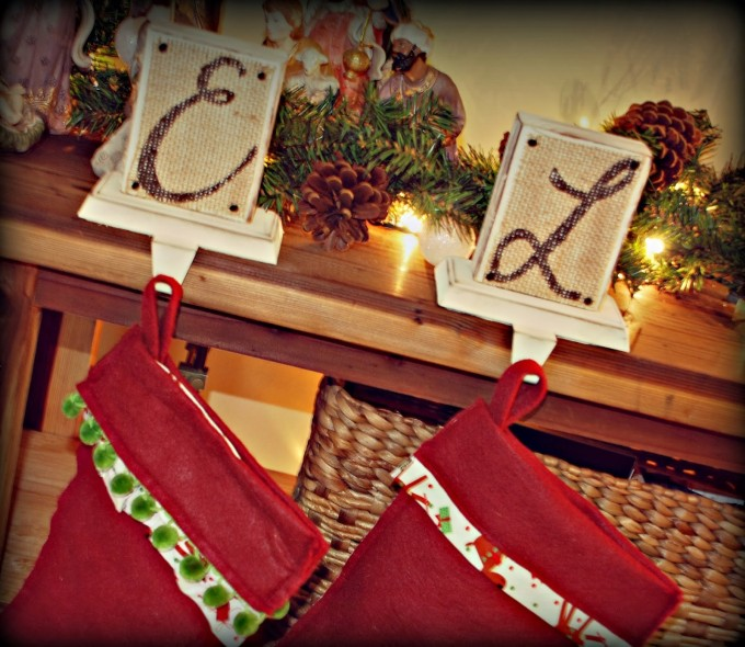 Charming Christmas Stocking Hanger With Background Made Of Wood In White With Alphabet For Christmas Decoration Ideas
