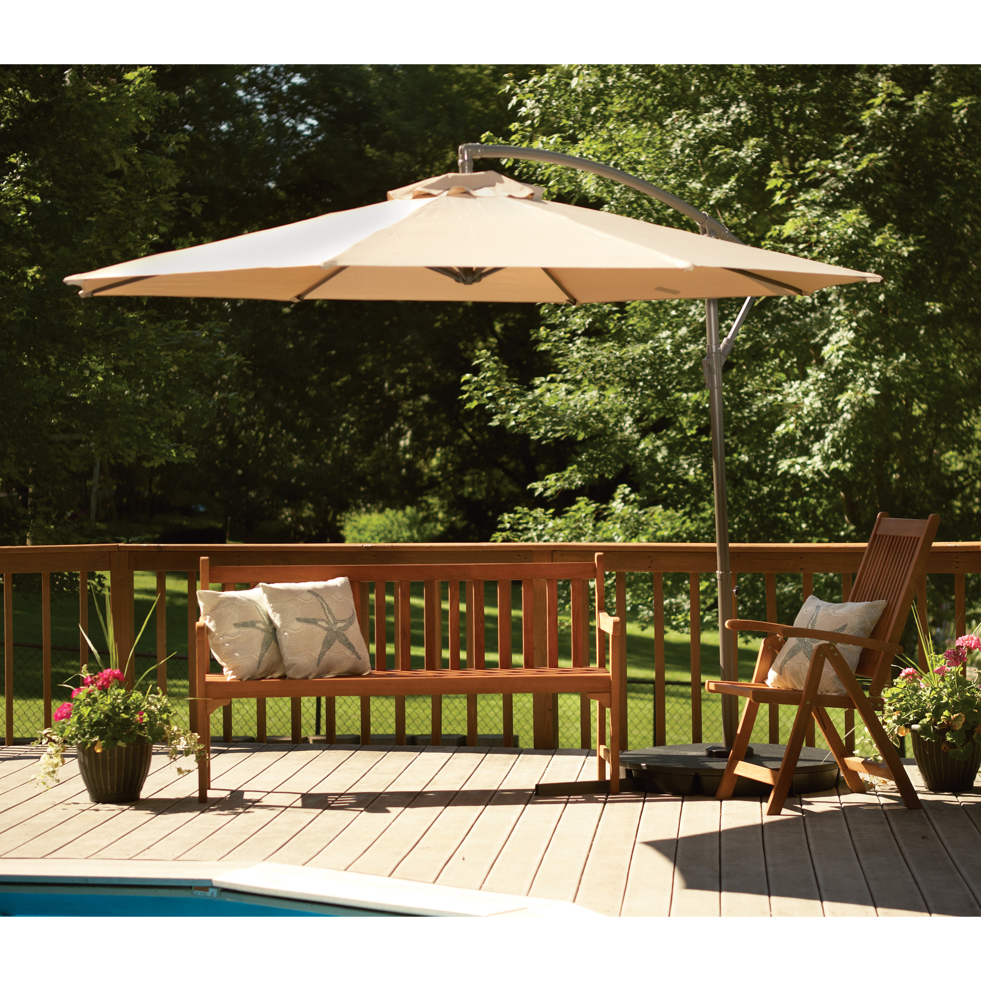 Furniture Charming Cream Cantilever Patio Umbrella With Metal