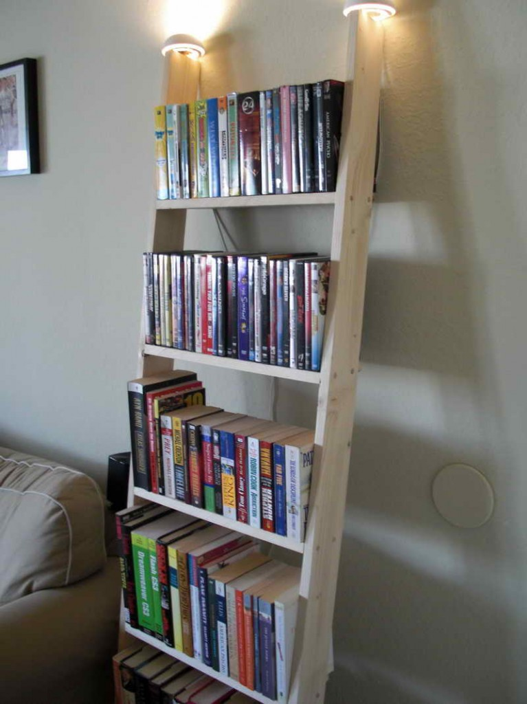 charming cream wooden ladder bookshelf before the grey wall near the sofa for living room decor ideas