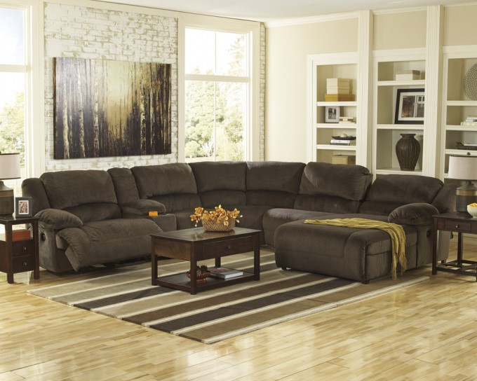 Charming Dark Brown Cheap Sectional Sofas On Wooden Floor Plus Stripped Carpet And Wooden Table For Living Room Decor Ideas