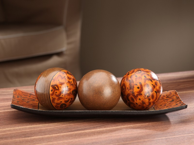 charming decorative orbs in brown and orange for table accessories ideas