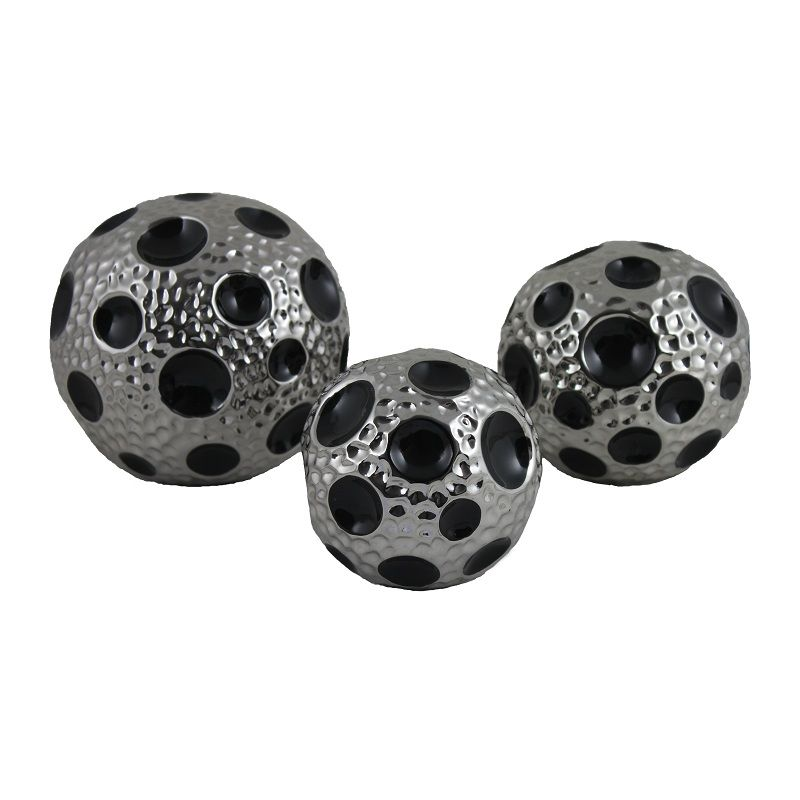 charming decorative orbs in silver with black dotted for table accessories ideas