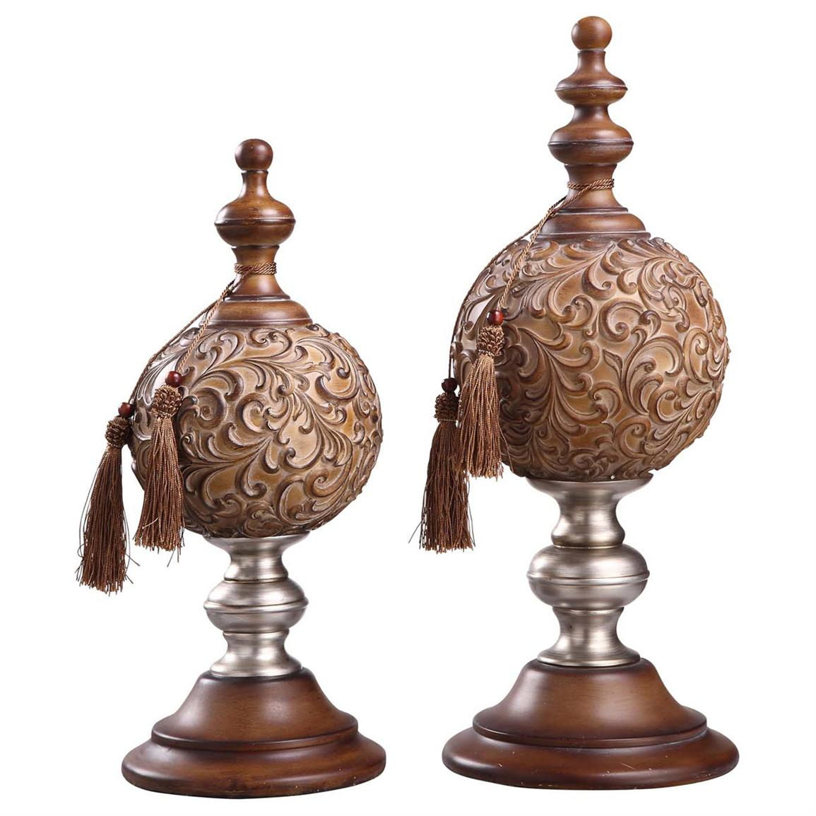 charming decorative orbs with silver and brown stand for table accessories ideas
