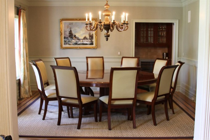 Charming Dining Room Decor With Expandable Dining Table Set With White Seat On Wheat Carpet Plus Chandelier Ideas