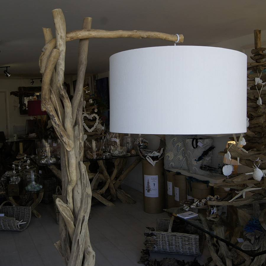 charming driftwood floor lamp in natural wood design with white head for lighting ideas