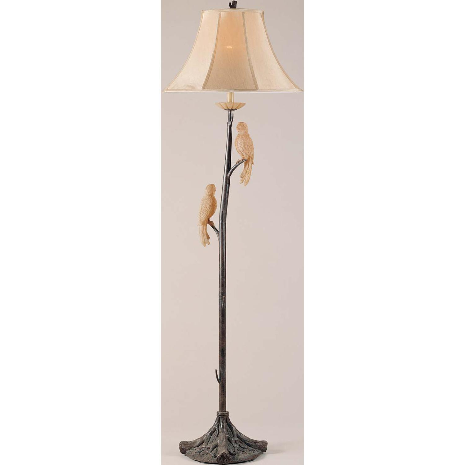Charming Driftwood Floor Lamp With Birds Ornament For Home Furniture Ideas