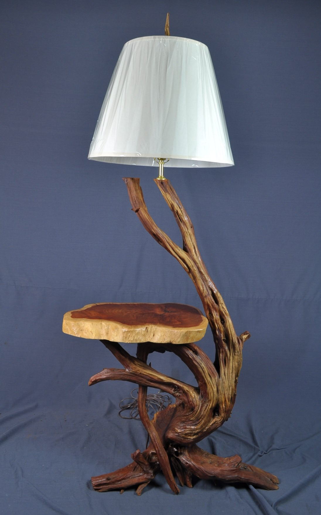 charming driftwood floor lamp with white head and flat space as table for home furniture ideas