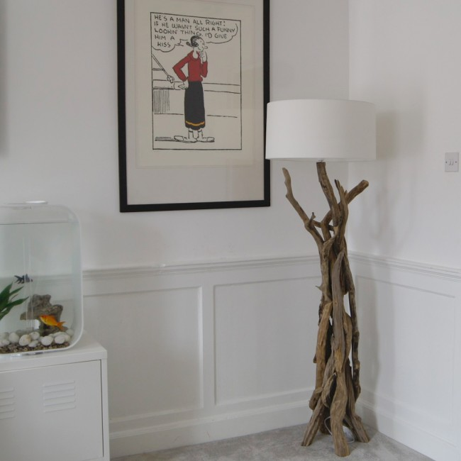 charming driftwood floor lamp with white head on wheat ceramics floor matched with white wall with white wainscoting for home decor ideas