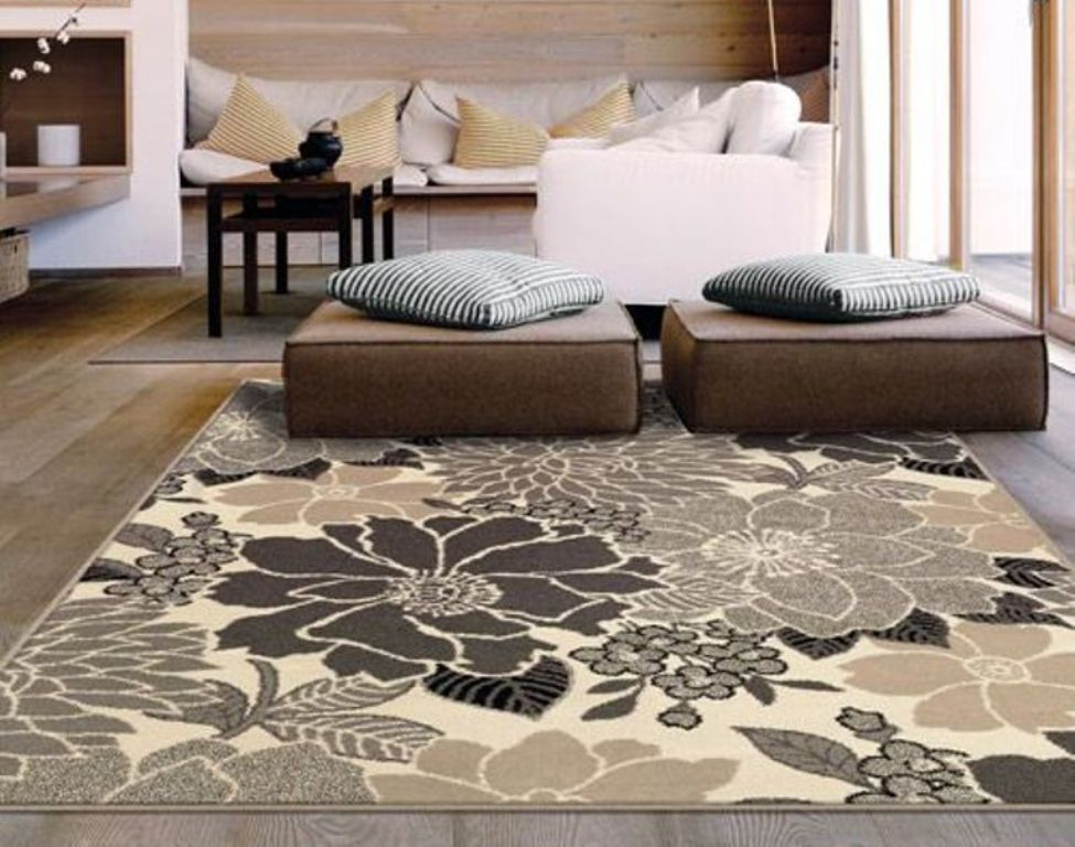 Charming Fl 5x7 Area Rugs On Wooden Floor Plus Sofa Set For Living Room Decor Ideas