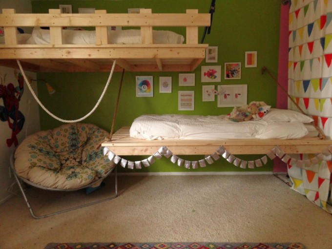 Charming Kids Room With Indoor Or Outdoor Papasan Chair With Floral Cushion Seat Plus Charming Hanging Bed Ideas