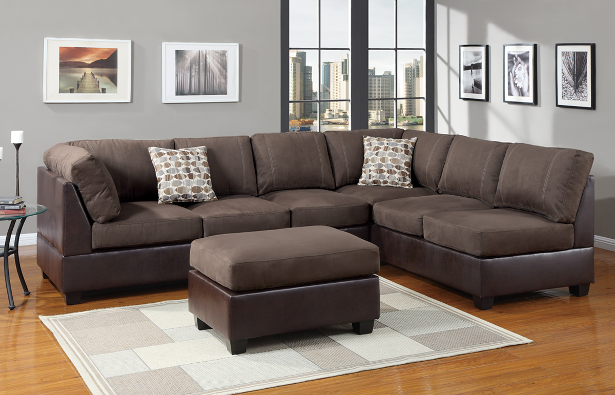 charming l shaped cheap sectional sofas in brown on wooden floor plus matching ottoman and checked carpet for living room decor ideas