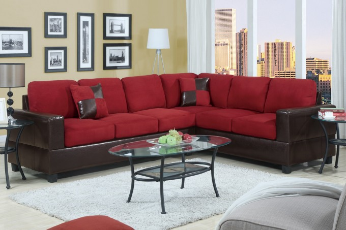 Charming L Shaped Cheap Sectional Sofas In Red And Black On Wheat Floor Plus White Carpet And Oval Glass Table For Living Room Decor Ideas