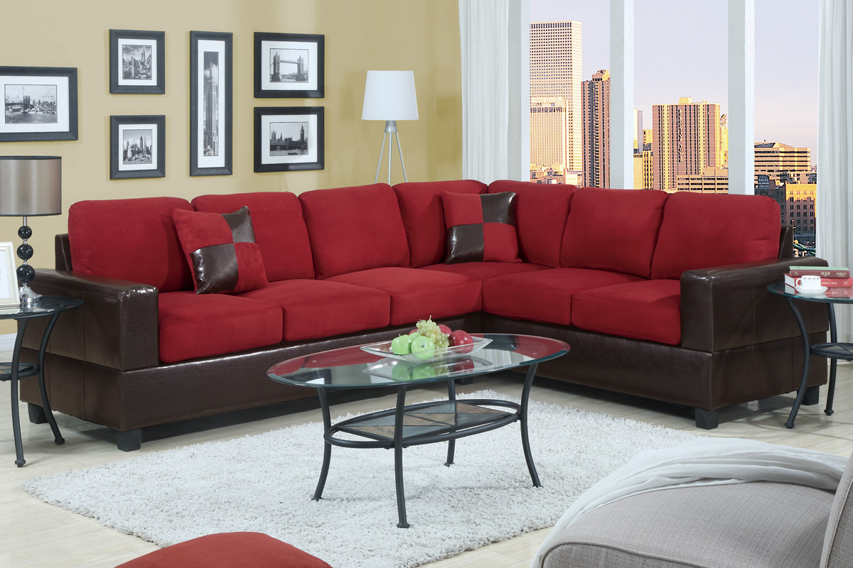Charming L Shaped Cheap Sectional Sofas In Red And Black On Wheat Floor  Plus White Carpet