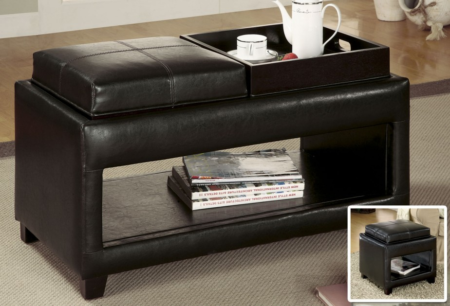 charming large ottoman tray in on black leather ottoman with rack for home furniture ideas