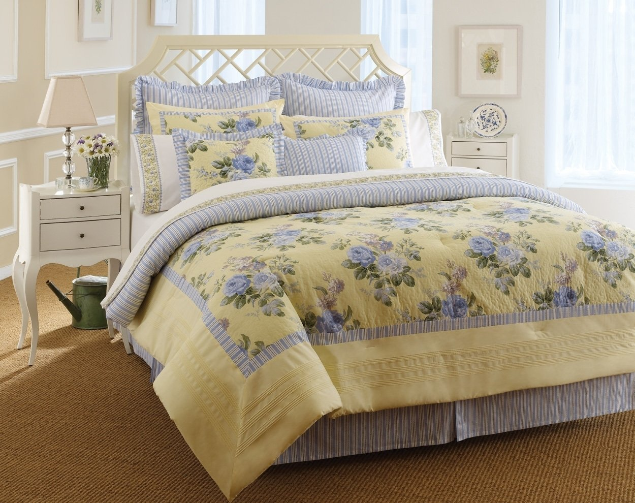 charming laura ashley bedding in blue and yellow floral pattern with white headboard on brown rug for bedroom decor ideas