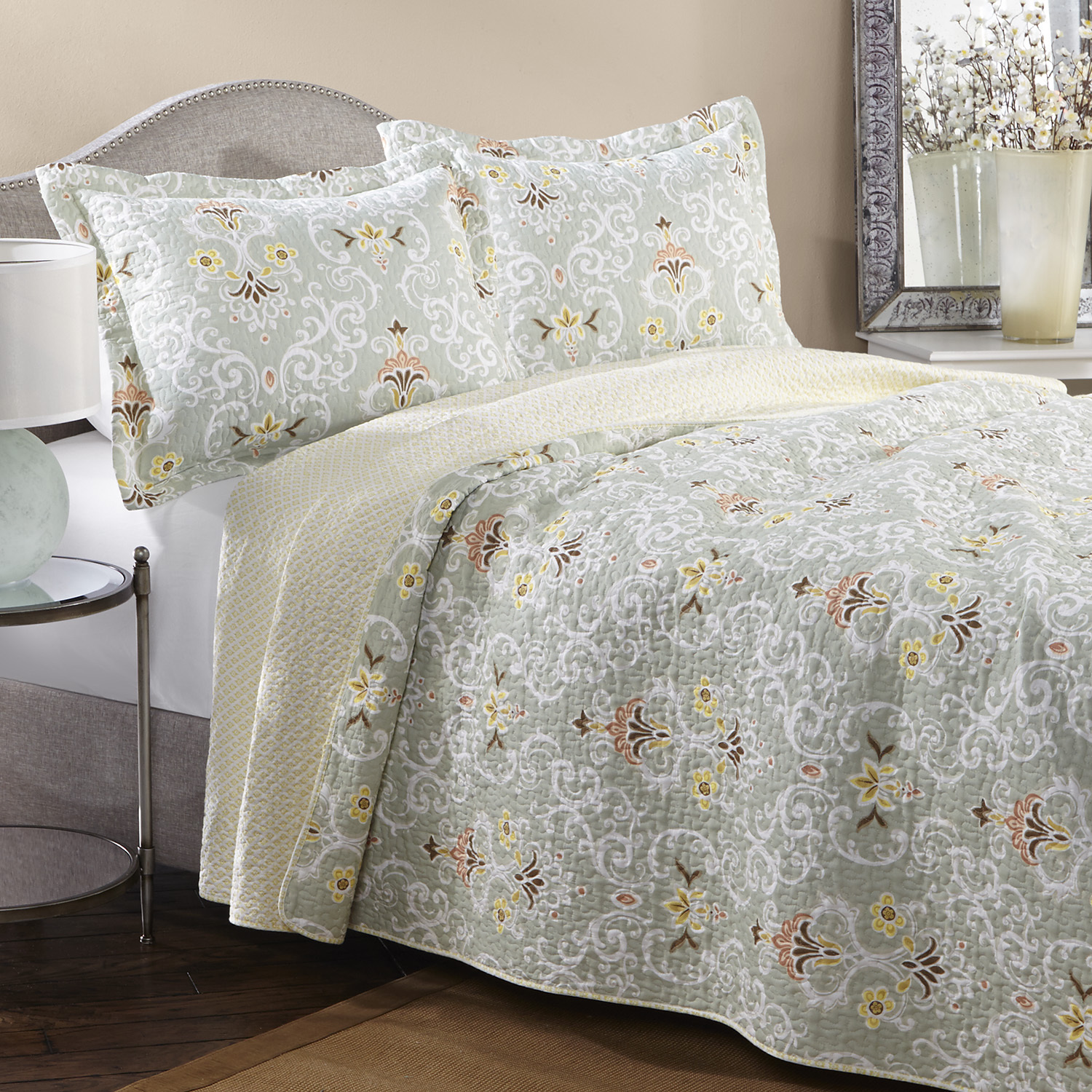 charming laura ashley bedding in grey and flowers motif o wooden floor plus nightstand and table standing lamp for bedroom decor ideas