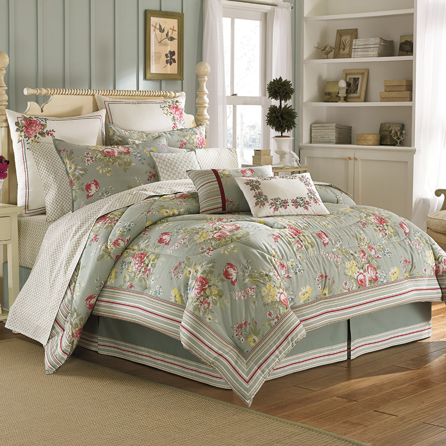 charming laura ashley bedding in olive and floral pattern plus pillows on wooden floor matched iwth olie wall for bedroom decor ideas