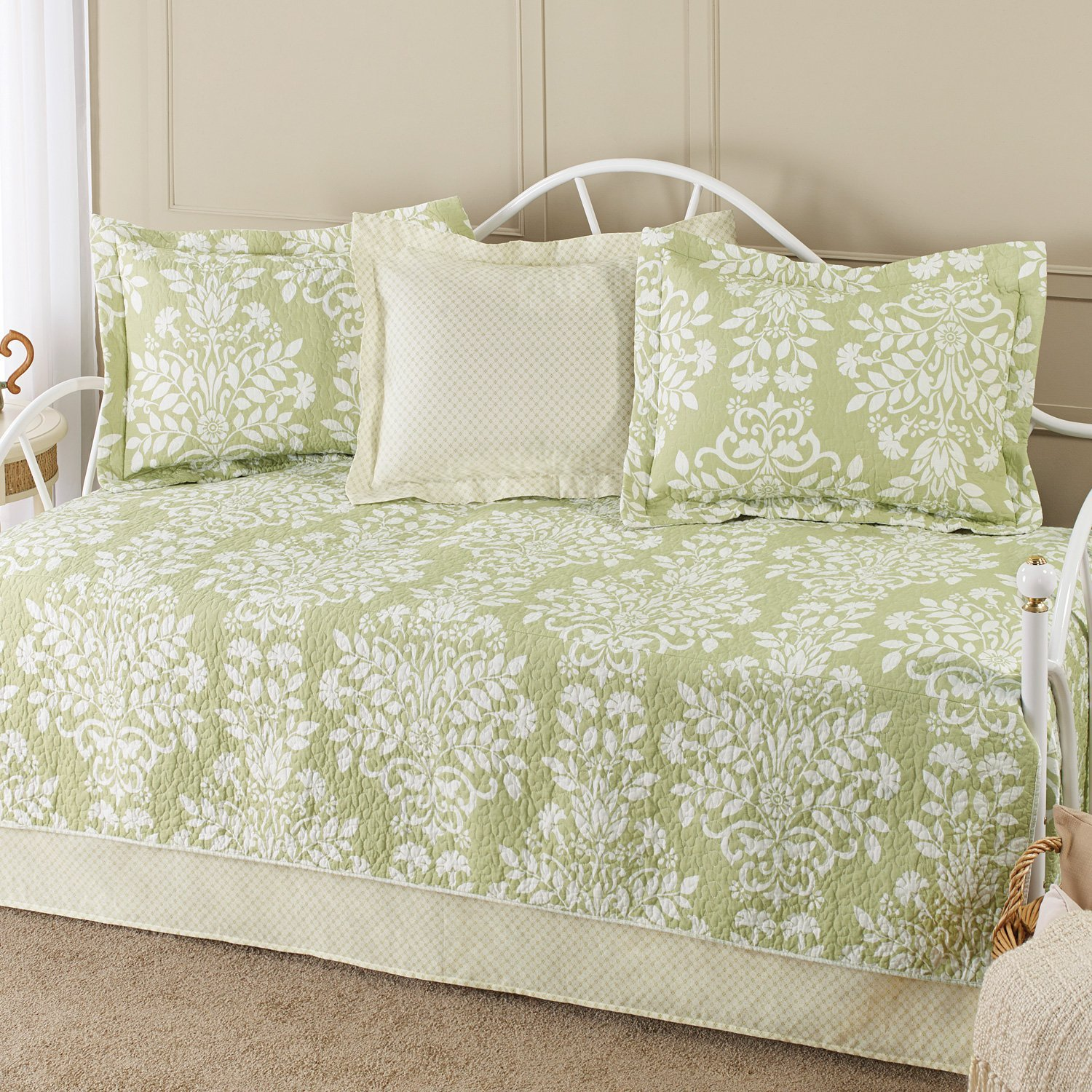charming laura ashley bedding in olive and white floral pattern on cream rug matched with cream wall for bedroom decor ideas