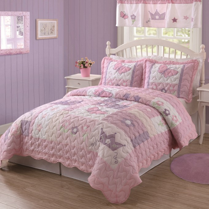 Charming Laura Ashley Bedding In Pink With White Headboard On Wooden Floor Matched With Purple Wall For Teens Bedroom Ideas