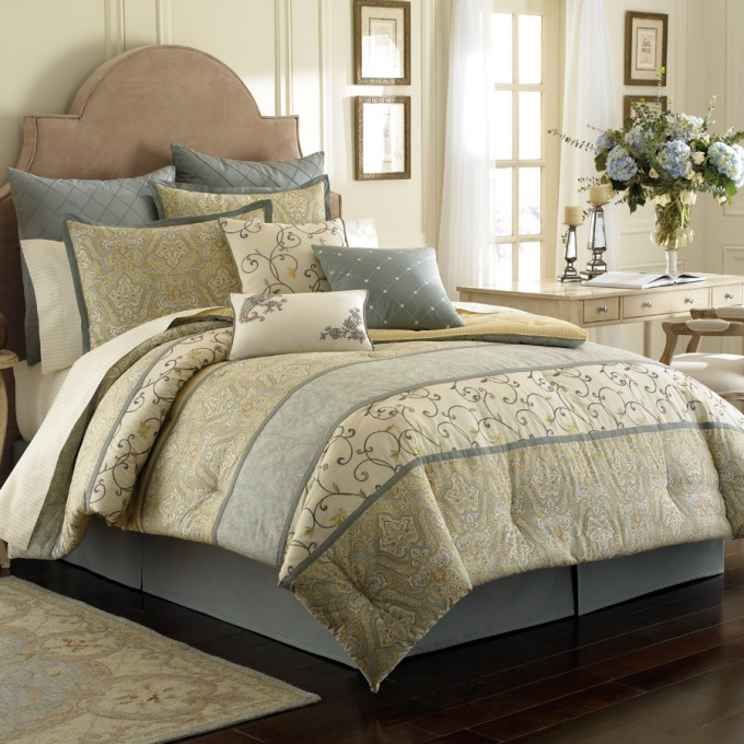 Charming Laura Ashley Bedding With Brown Headboard Plus Pillows On Wooden Floor Matched With White Wall For Bedroom Decor Ideas
