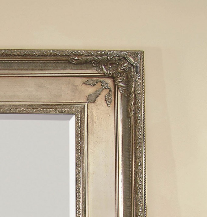Charming Leaner Mirror With Tan Frame With Charming Ornament For Home Furniture Ideas