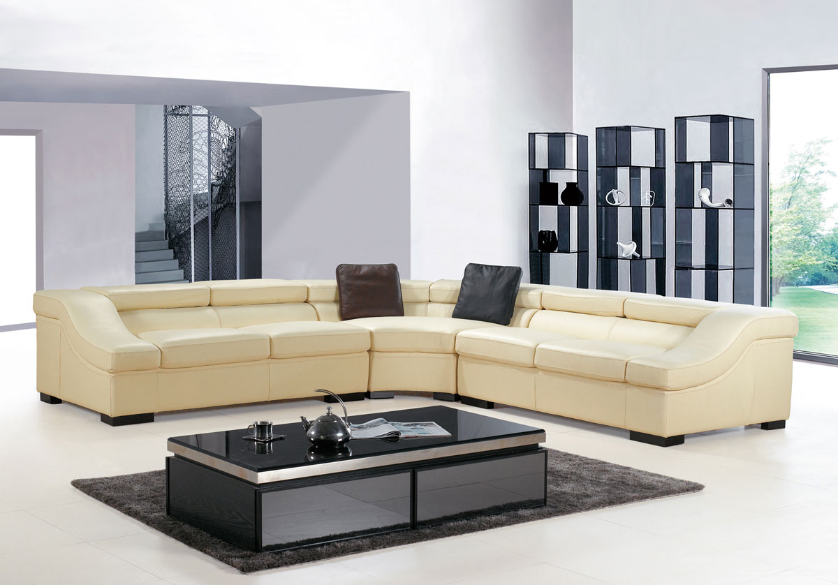 charming leather cheap sectional sofas in cream on white ceramics floor plus black table for living room decor ideas