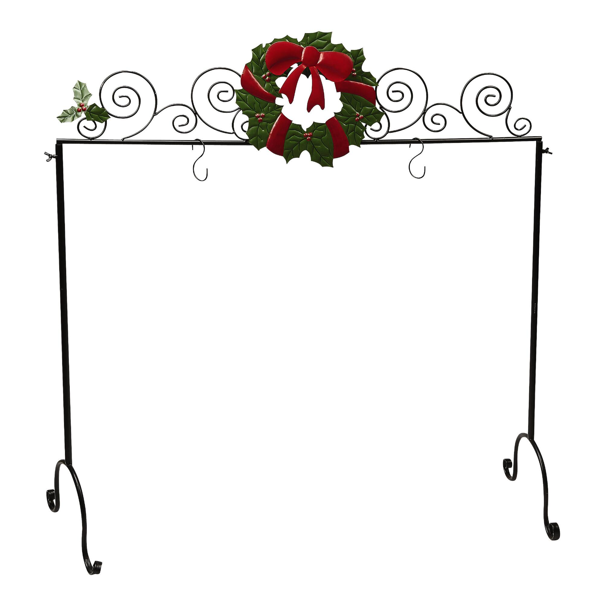charming metal christmas stocking hanger with faux wreath ornament for christmas decoration ideas