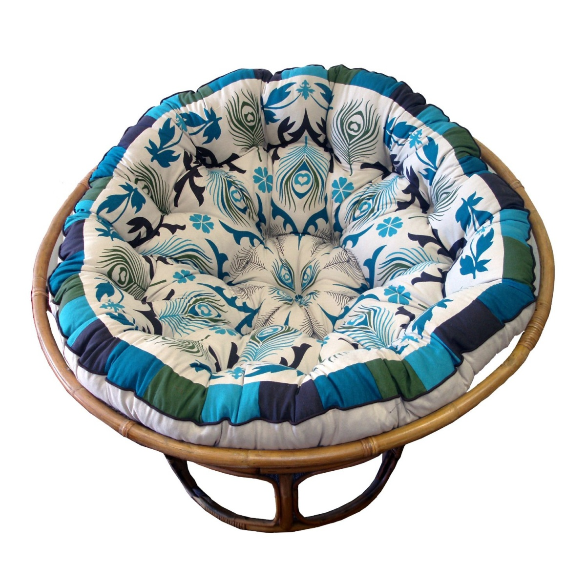 Charming Mocca Outdoor Papasan Chair With Floral Pattern Of Cushion Seat For Charming Furniture Ideas