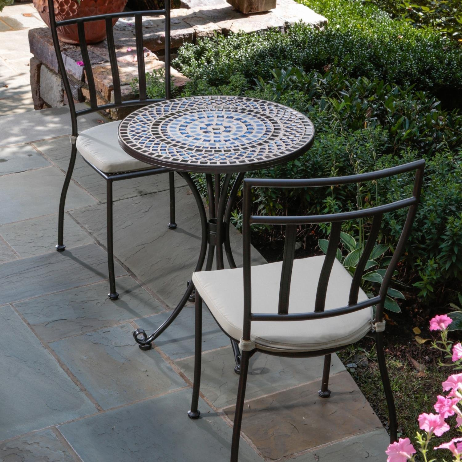 Charming Mosaic Bistro Table With Black Legs And Double Chair On Tile Floor  For Charming Patio