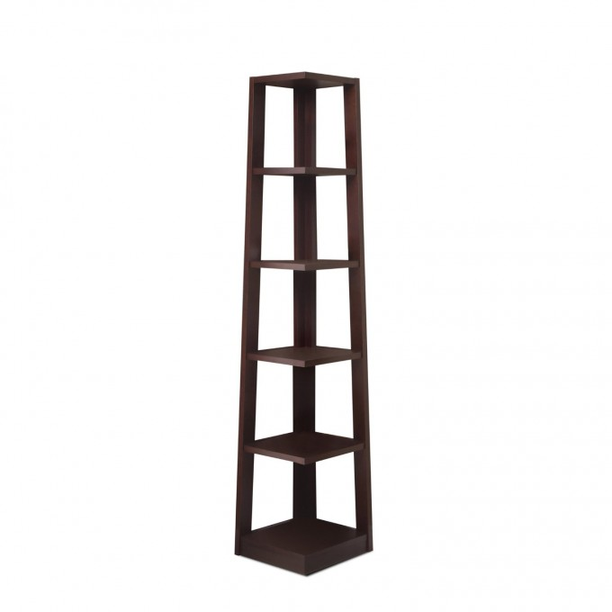 Charming Narrow Ladder Bookshelf In Solid Lack For Home Furniture Ideas