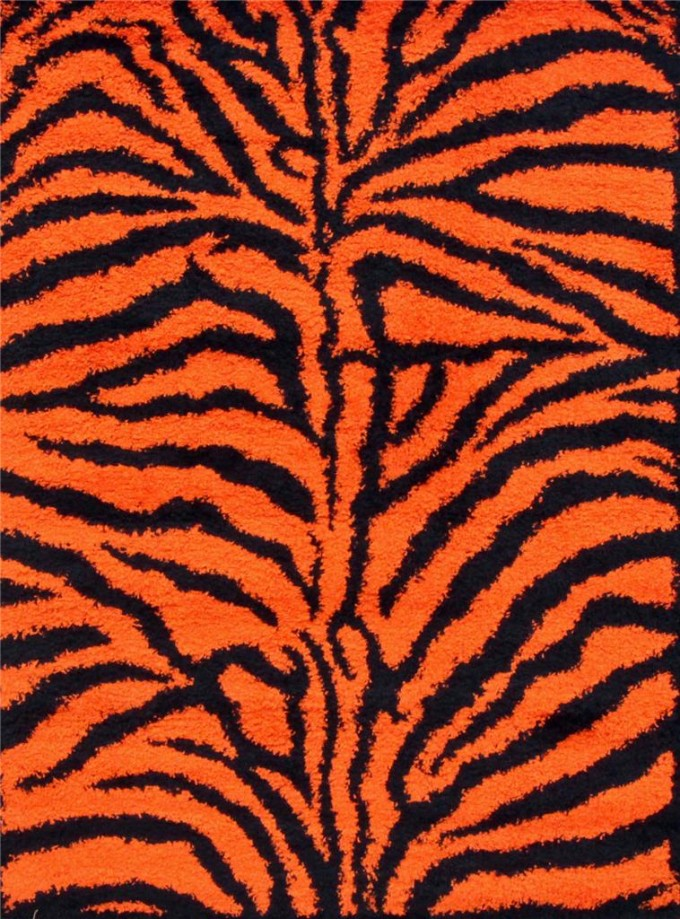 Charming Orange 5x7 Area Rugs With Tiger Motif For Floor Decor Ideas