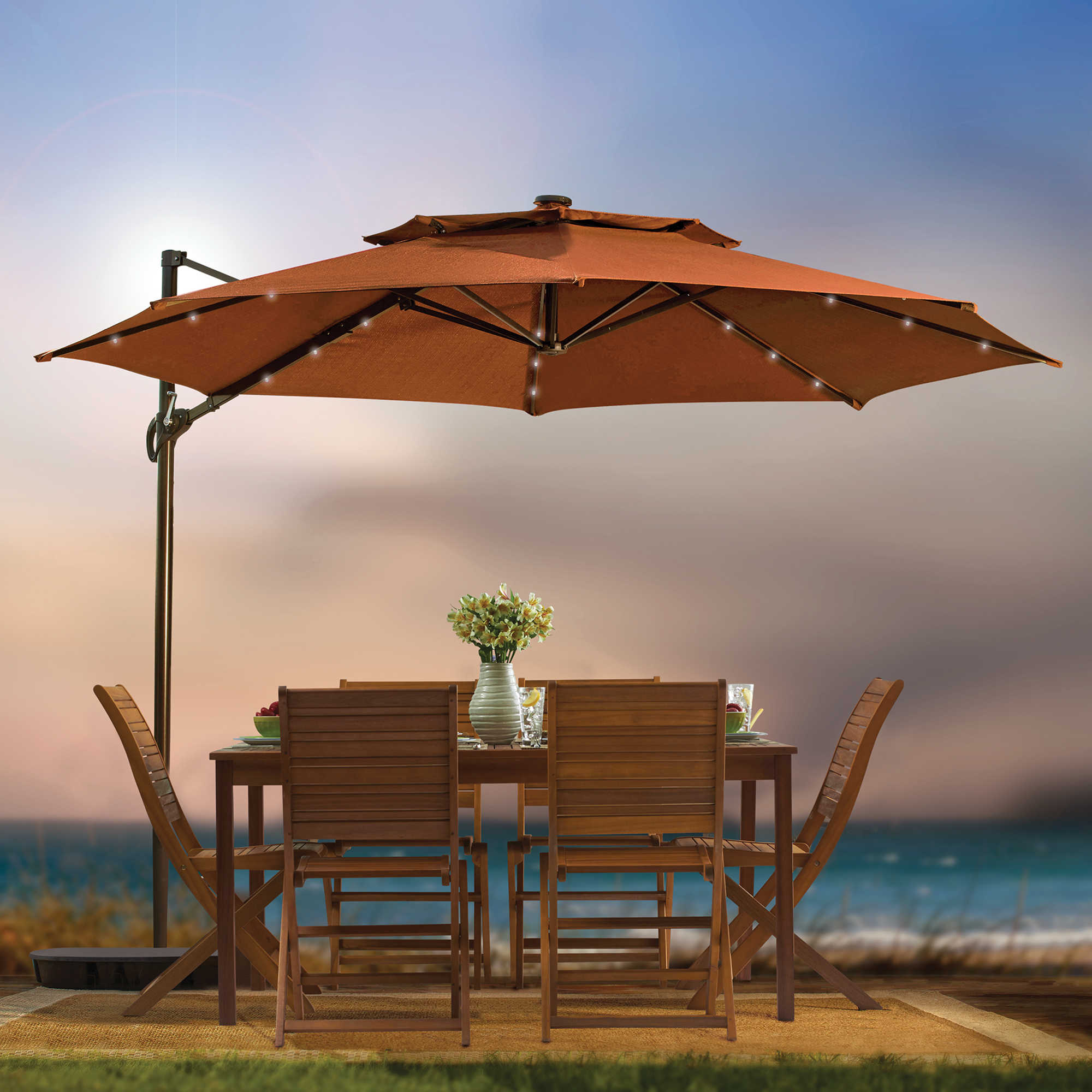charming orange Cantilever Patio Umbrella with wooden dining table set for patio decor ideas