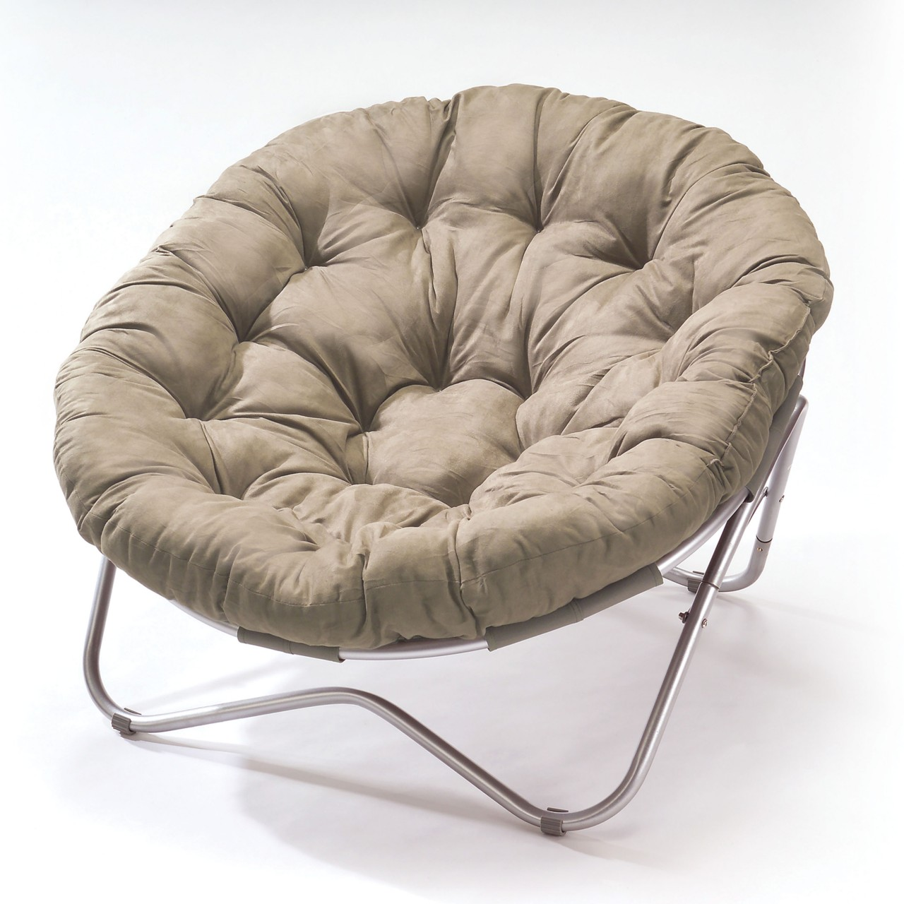 charming outdoor papasan chair with silver legs and mocca cushion seat for charming furniture ideas
