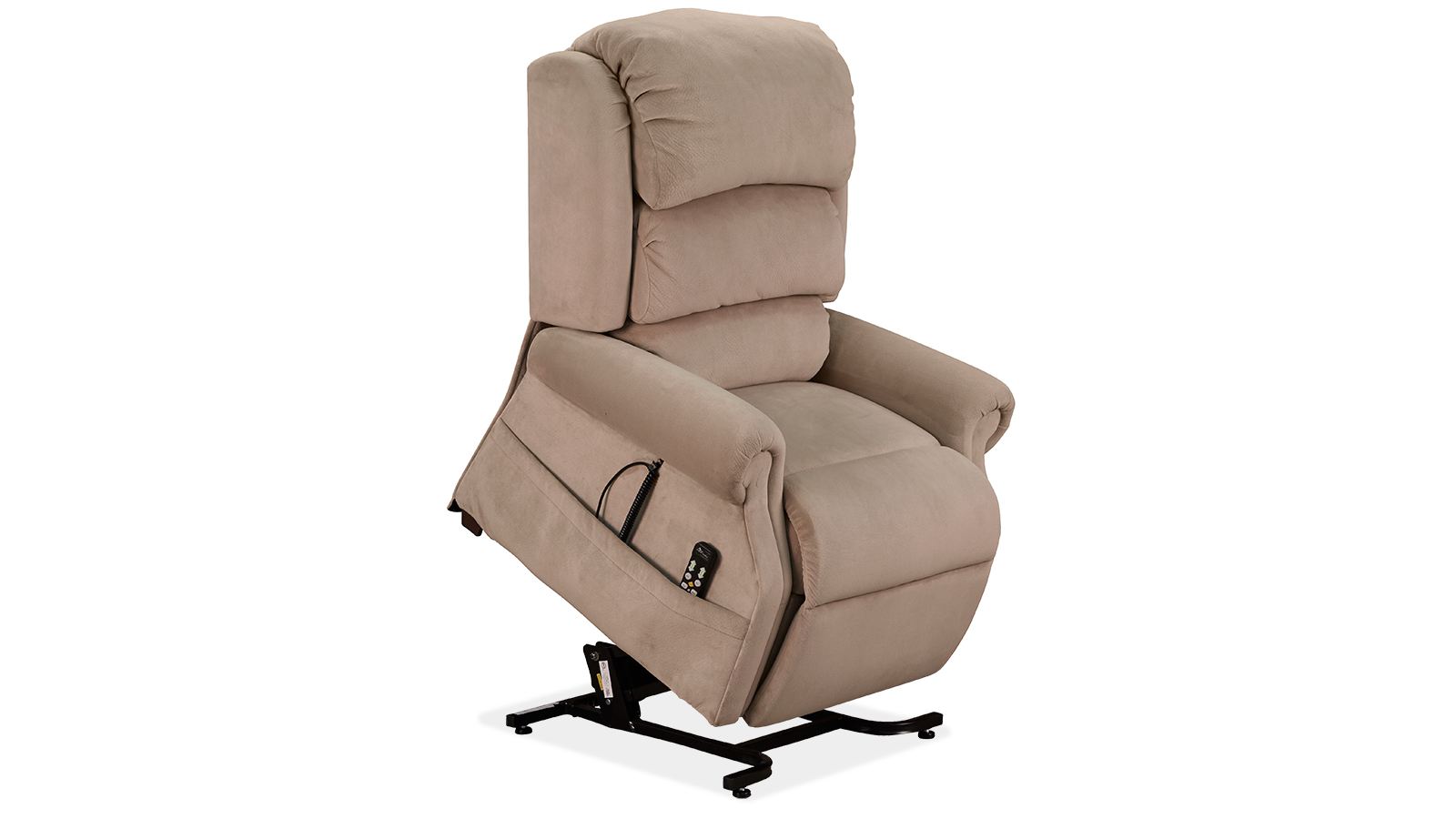 charming power lift recliners in cream with black metal stand for home furniture ideas