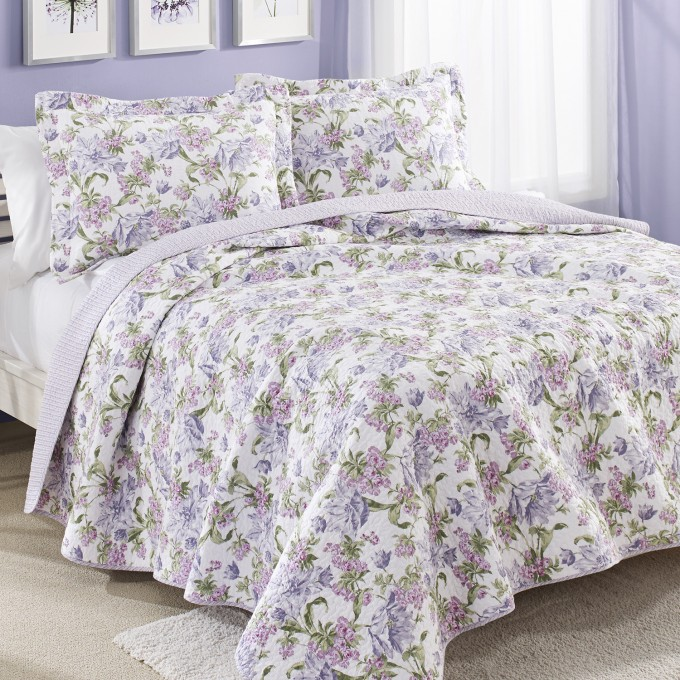 Charming Purple Flower Laura Ashley Bedding Matched With Purple Wall Plus White Curtains For Bedroom Decor Ideas