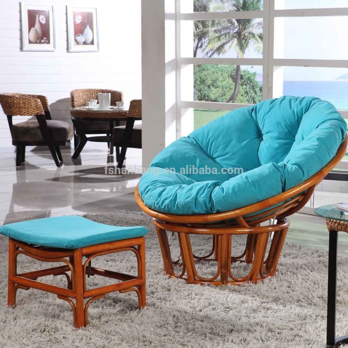 Charming Rattan Indoor Or Outdoor Papasan Chair With Blue Cushion Seat Plus Mini Table On White Carpet For Inspiring Family Room Decor Ideas