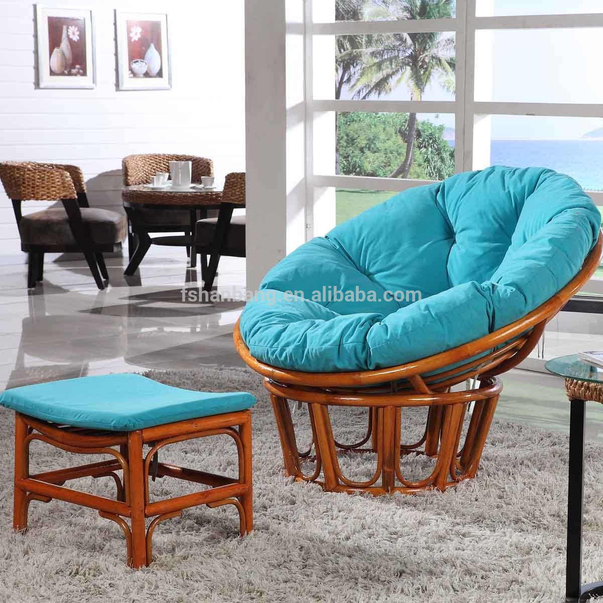 charming rattan indoor or outdoor papasan chair with blue cushion seat plus mini table on white : chaise papasan - Sectionals, Sofas & Couches