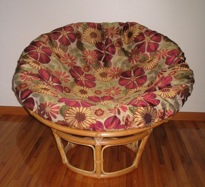 Charming Rattan Indoor Or Outdoor Papasan Chair With Floral Cushion Seat For Charming Furniture Ideas