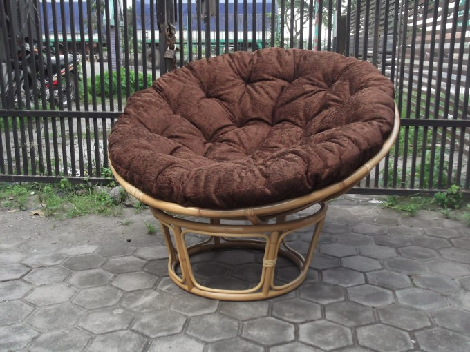 Charming Rattan Outdoor Papasan Chair With Brown Cushion Seat For Charming Furniture Ideas