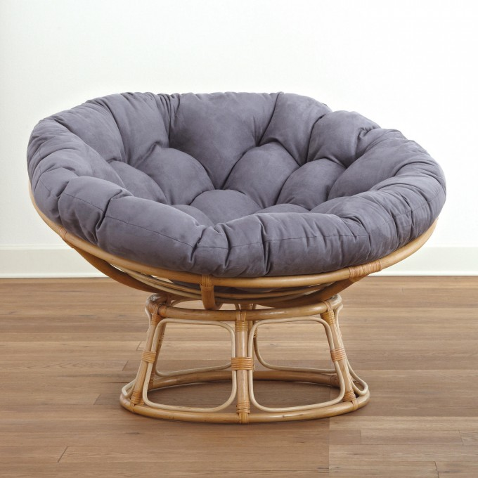 Charming Rattan Outdoor Papasan Chair With Grey Cushion Seat For Charming Furniture Ideas