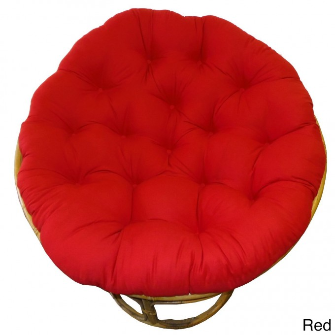 Charming Rattan Outdoor Papasan Chair With Red Tufted Cushion Seat For Charming Furniture Ideas