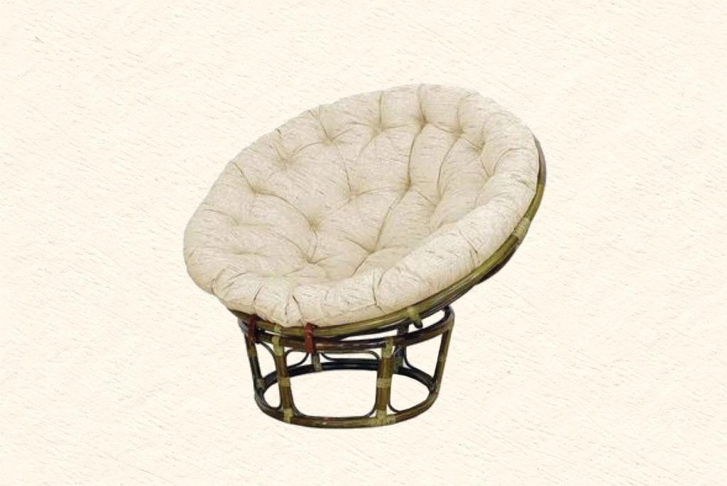 Charming Rattan Outdoor Papasan Chair With White Cushion Seat For Charming Furniture Ideas