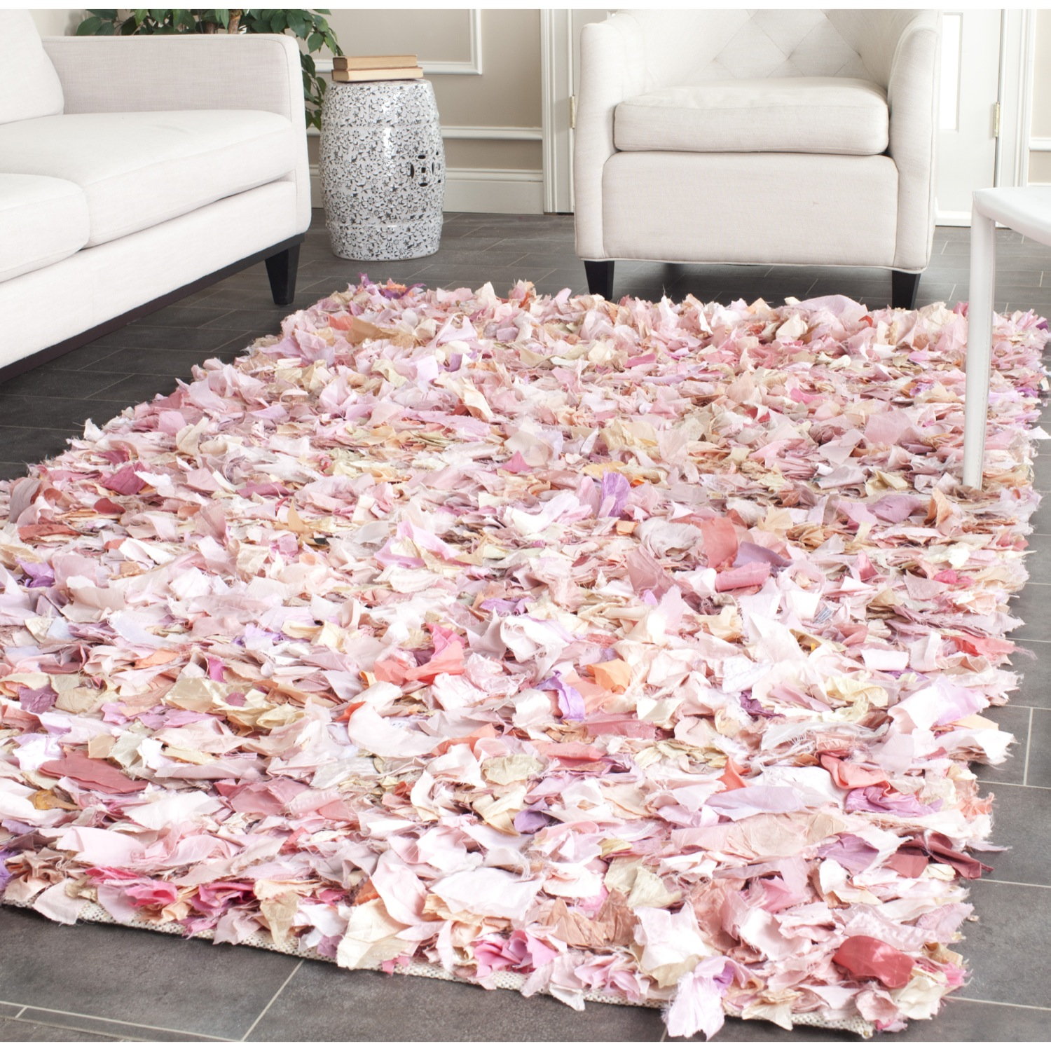 charming rectangle shag rugs in pink on grey ceramics floor plus white sofa for living room decor ideas