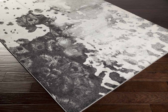 Charming Rectangle Surya Rugs In Black And White On Wooden Floor For Floor Decor Ideas